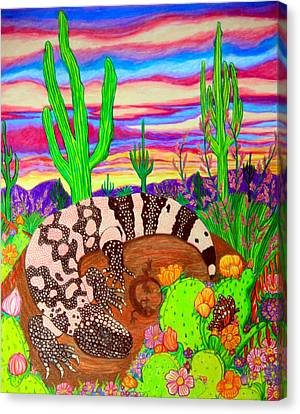 Gila Monster In Desert Canvas Print by Nick Gustafson