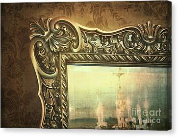 Gilded Mirror Reflection Of Chandelier Canvas Print by Sandra Cunningham