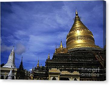 Gilded Stupa Of The Shwezigon Pagoda In Bagan Canvas Print by Sami Sarkis
