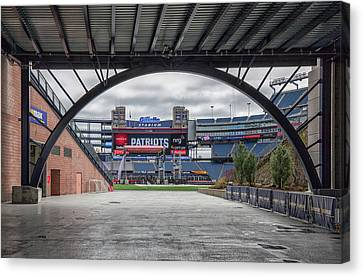 Gillette Stadium And The Four Super Bowl Banners Canvas Print