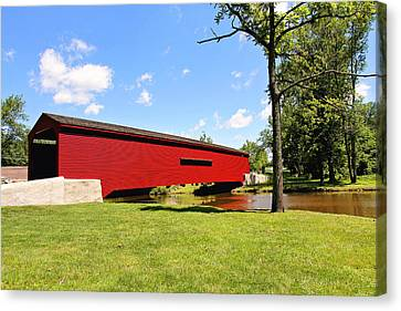 Gilpin's Falls Covered Bridge Canvas Print by Trina  Ansel