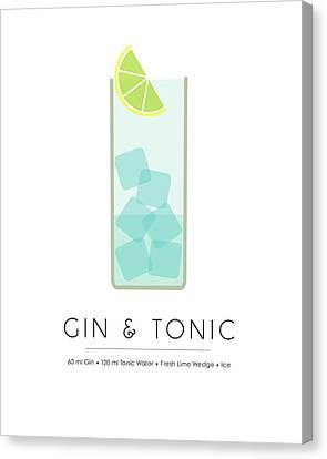 Gin And Tonic Classic Cocktail - Minimalist Print Canvas Print