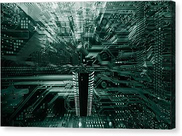 Canvas Print featuring the photograph Ginat Microchip Hovering Above Circuit-board by Christian Lagereek