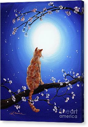 Ginger Cat In Blue Moonlight Canvas Print by Laura Iverson