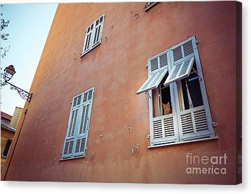 Ginger Cat Peering Out Ginger Building In Old Town Of Nice Canvas Print by Lance Bellers
