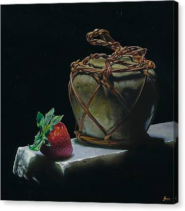 Ginger Jar And Strawberry Canvas Print by Jeffrey Hayes