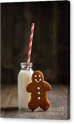 Glass Bottle Canvas Print - Gingerbread Man With Milk by Amanda Elwell