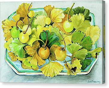 Ginkgo, Fruit And Leaves Canvas Print by Joan Thewsey