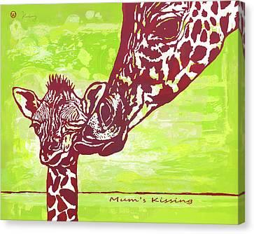 Giraffe Abstract Canvas Print - Mum's Kissing - Giraffe Stylised Pop Art Poster by Kim Wang