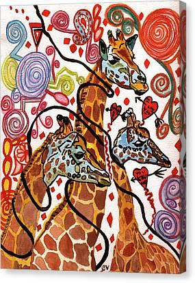 Giraffe Birthday Party Canvas Print by Connie Valasco
