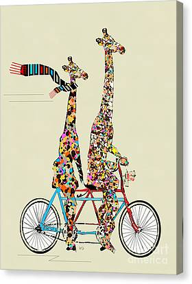 Contemporary Digital Art Canvas Print - Giraffe Days Lets Tandem by Bleu Bri