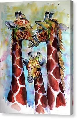 Canvas Print featuring the painting Giraffe Family by Kovacs Anna Brigitta