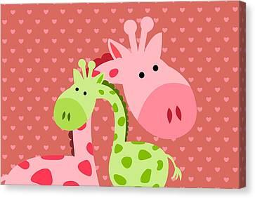 Giraffe  Hugs Canvas Print by Chastity Hoff