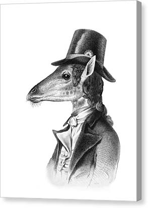 Giraffe In A Smoking Jacket With Top Hat Canvas Print