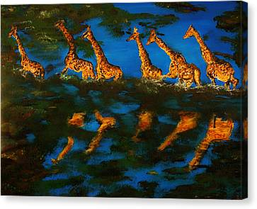 Giraffe In Africa Canvas Print by Gregory Allen Page