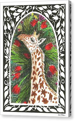 Giraffe In Archway Canvas Print by Lise Winne