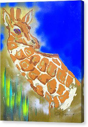 Canvas Print featuring the painting Giraffe by J R Seymour