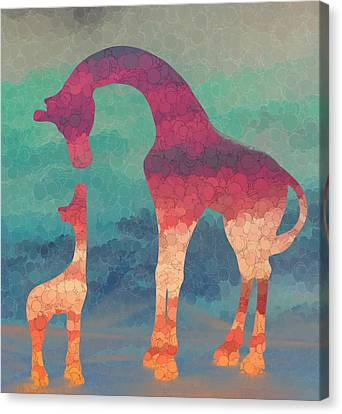 Giraffe Love Mother And Child Canvas Print by Terry DeLuco
