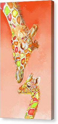 Giraffe Love- Orange Canvas Print by Jane Schnetlage