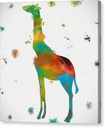 Giraffe Paint Splatter Canvas Print by Dan Sproul