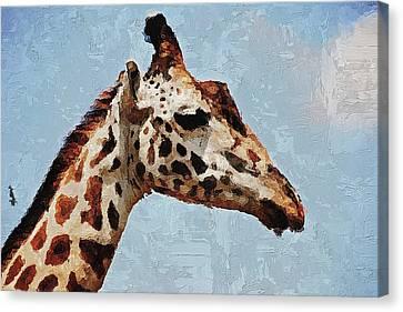Canvas Print featuring the digital art Giraffe Safari  by PixBreak Art