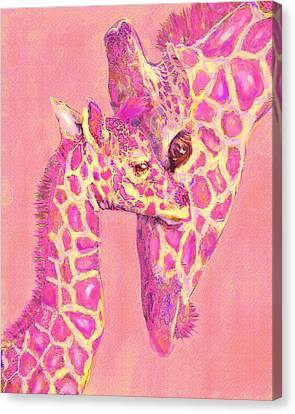 Giraffe Shades- Pink Canvas Print by Jane Schnetlage
