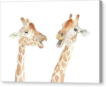 Canvas Print featuring the painting Giraffe Watercolor by Taylan Apukovska