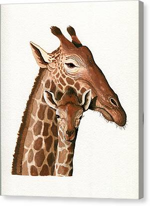 Giraffe- Protect Our Children Wildlife Painting Canvas Print