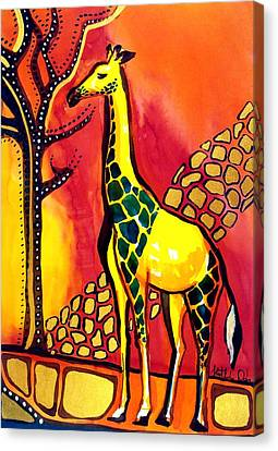 Canvas Print featuring the painting Giraffe With Fire  by Dora Hathazi Mendes