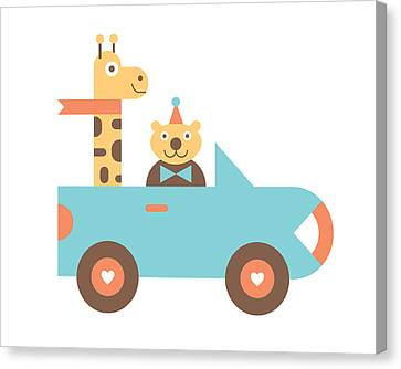 Animal Car Pool Canvas Print by Mitch Frey