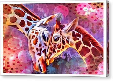 Giraffes Embrace Portrait Canvas Print by Scott Wallace