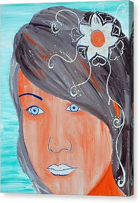 Canvas Print featuring the painting Girl 12 by Josean Rivera