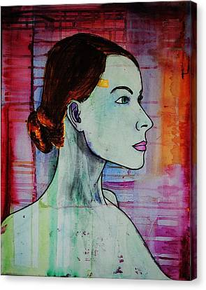 Canvas Print featuring the painting Girl 15 by Josean Rivera