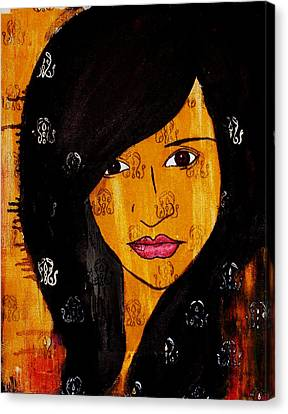 Canvas Print featuring the painting Girl 3 by Josean Rivera