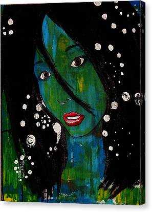 Canvas Print featuring the painting Girl 8 by Josean Rivera