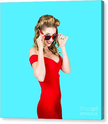 Girl Adjusting Glasses To Flashback A 1950s Look Canvas Print