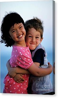Girl And Boy Embracing Canvas Print