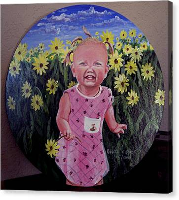 Girl And Daisies Canvas Print