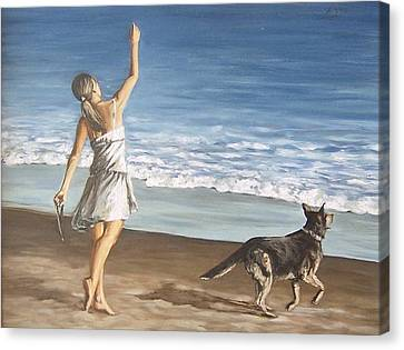 Girl And Dog Canvas Print by Natalia Tejera