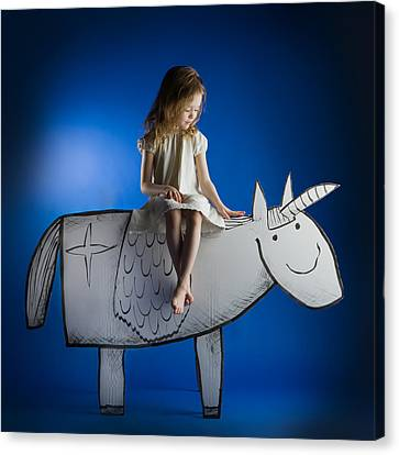 Unicorns Canvas Print - Girl And Her Unicorn by Eva Miliuniene