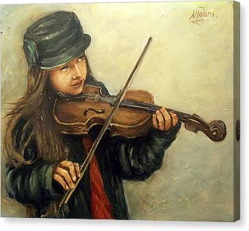 Girl And Her Violin Canvas Print by Natalia Tejera