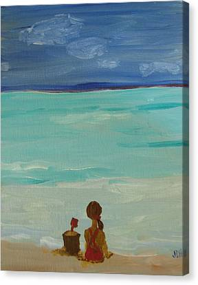 Girl And The Beach Canvas Print by Joseph Hawkins