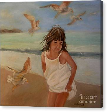 Girl And The Seagulls Canvas Print