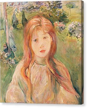 Girl At Mesnil Canvas Print by Berthe Morisot