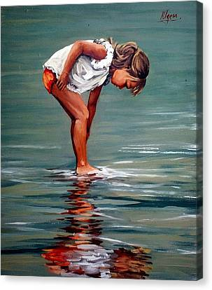 Girl At Shore  Canvas Print by Natalia Tejera