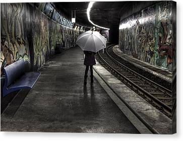Girl At Subway Station Canvas Print by Joana Kruse