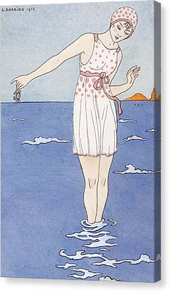 Girl At The Beach Canvas Print by Georges Barbier