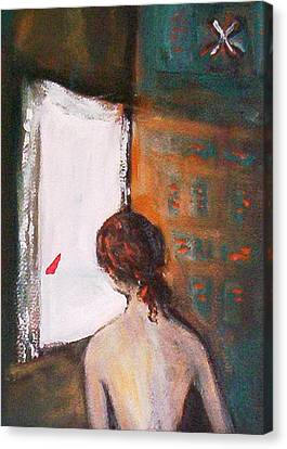 Canvas Print featuring the painting Girl At The Window by Winsome Gunning