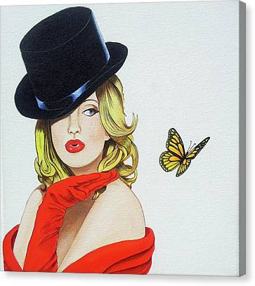 Girl  Butterfly Canvas Print by Margaret Zita Coughlan