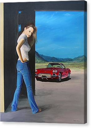 Girl By Corvette Canvas Print